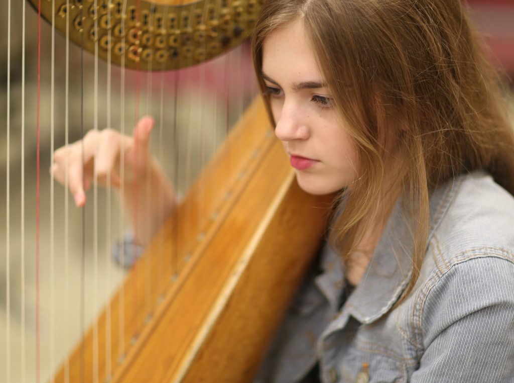 Harpist at Rehearsal