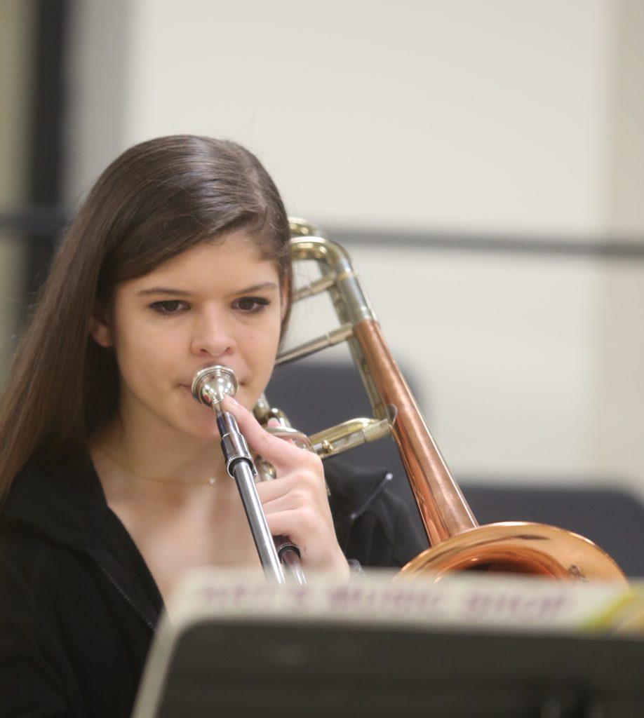 Trombonist Practicing