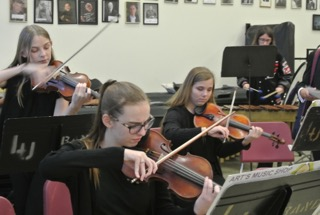 Violin Section at a Performance